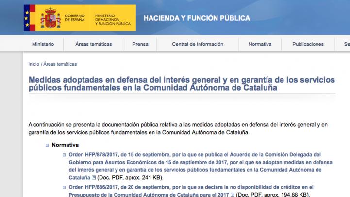 Hacienda habilita una web sobre las medidas adoptadas de control de las finanzas de la Generalitat